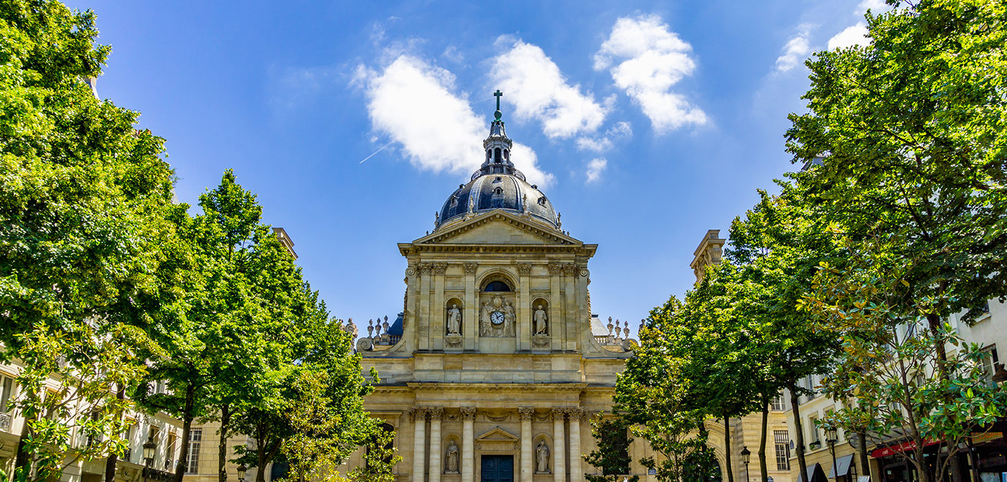 PARIS, FRANCE - APRIL 13, 2017: Sorbonne square, Place de la Sorbonne was opened in 1639. It is located in Latin Quarter. View of the Sorbonne Chapel from Sorbonne square. High Resolution Image.