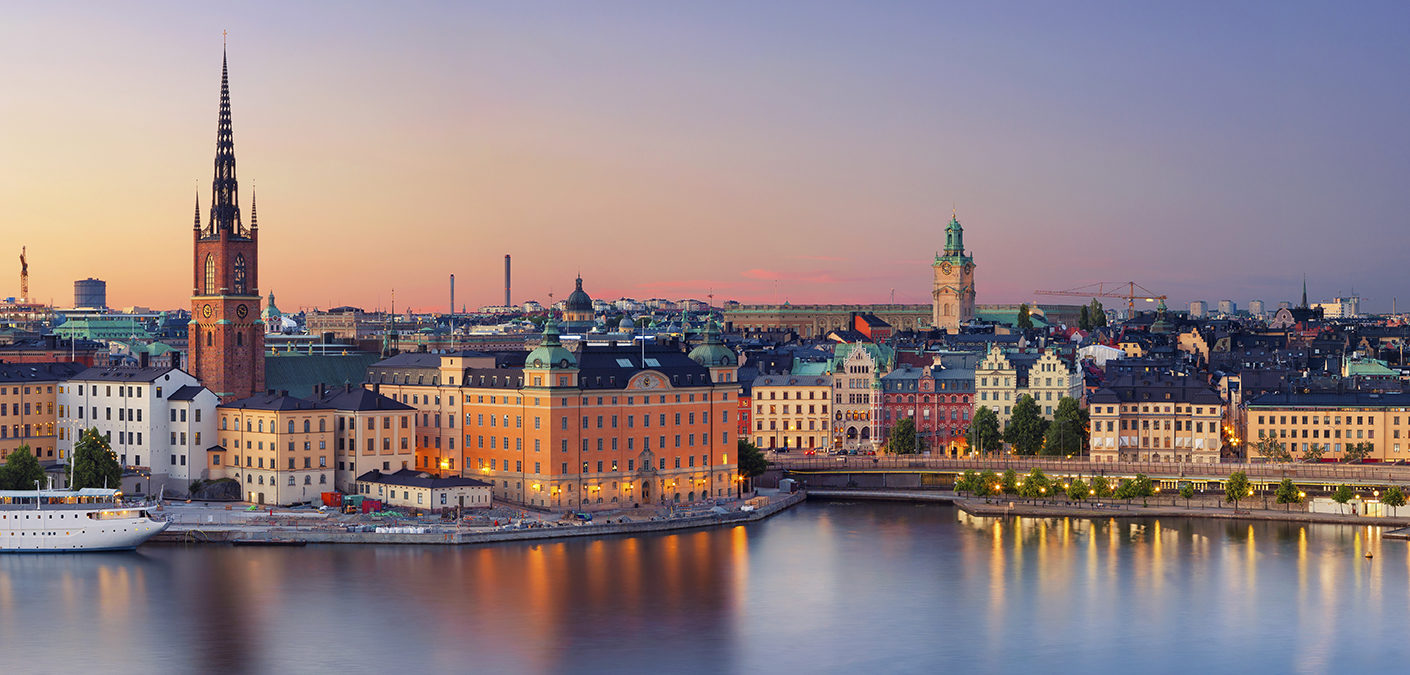 Panoramic image of Stockholm, Sweden during sunset. This is composite of two horizontal images stitched together in photoshop.