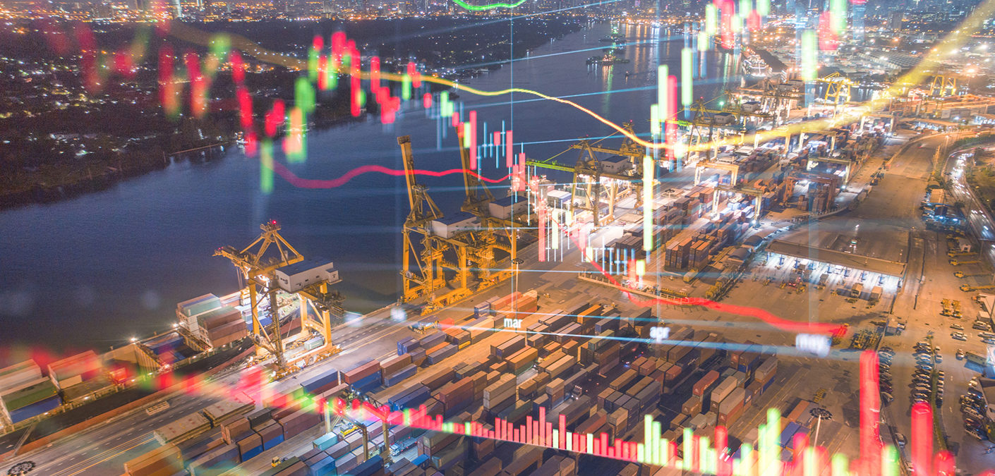 Stockmarket investment and financial background of Logistics and transportation of Container Cargo ship and Cargo with working crane bridge in shipyard